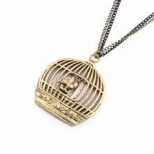 NK346 European American Fashion Vintage Bird cage Birdcage Long Sweater Chain Pendants Necklaces Jewelry Accessories(China)