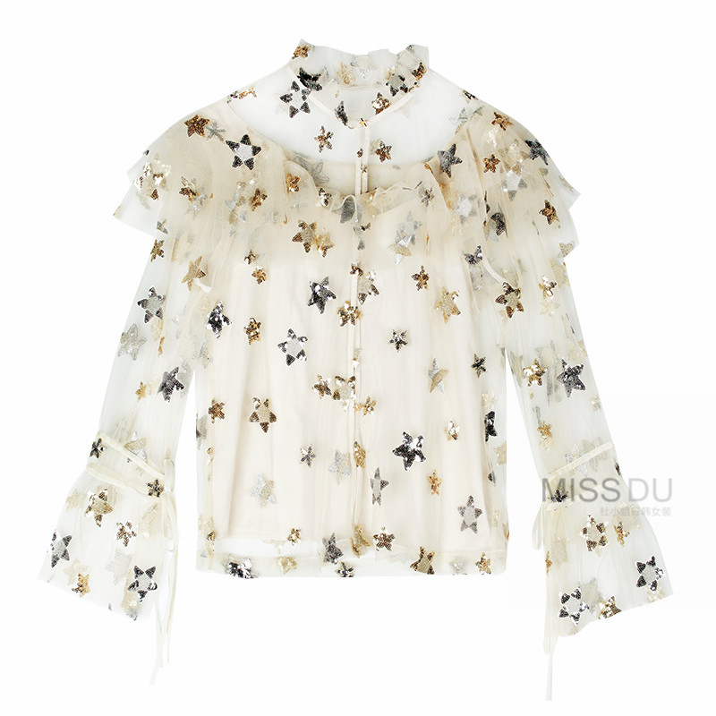 2019 Brand New Womens Tops and Blouses Ruffles Lace Blouse Stars Sequined Transparent Mesh Shirt Women Camisas Blusa Plus Size