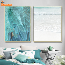 COLORFULBOY Feather Sea Landscape Nordic Posters And Prints Wall Art Canvas Painting Pop Pictures For Living Room Decor