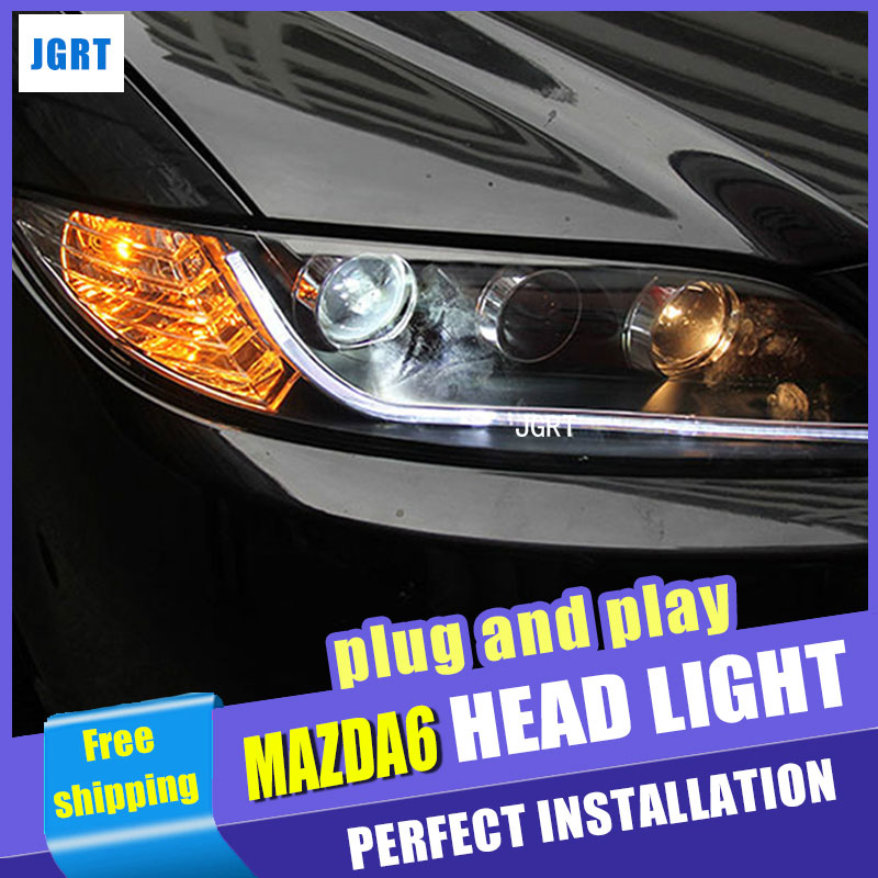 Car Styling LED Head Lamp for Mazda6 headlights 2003-2013 Mazda 6 LED headlight drl H7 hid Bi-Xenon Lens angel eye low beam car styling headlights for toyota rav4 led headlight 2013 2015 for rav4 head lamp led daytime running light q5 lens bi xenon hid