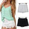 2016 Summer Fashion Mulheres Sexy Shorts Rendas de Algodão Floral Do Laço Do Crochet Mini Shorts Lazer Calças Curtas Plus Size S, M, L