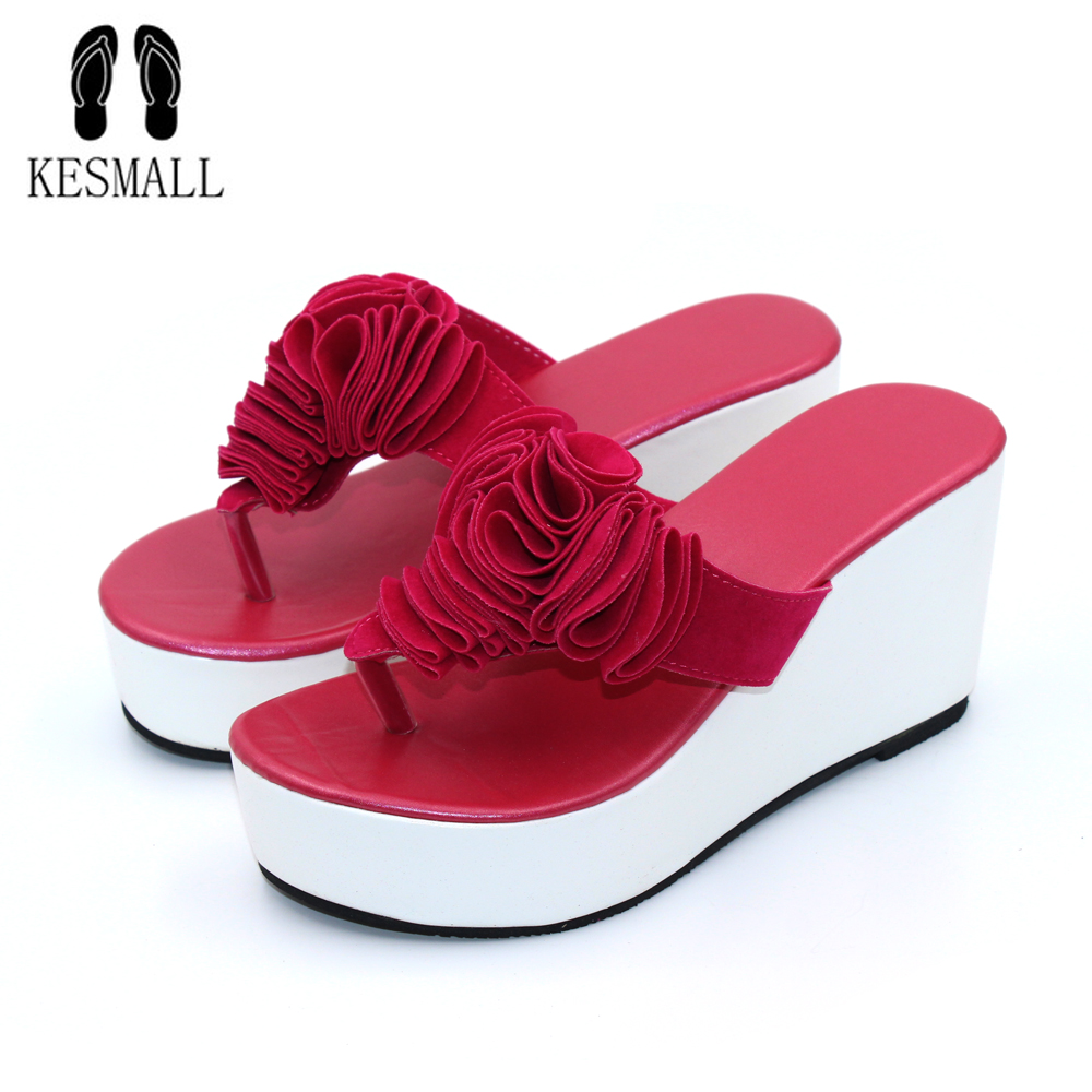 Bohemia Flowers Woman Beach Flip Flops Summer Sandals Resistant Slippers Platform Sandal Rubber Wedge 2017 New Fashion WS16 new summer cheap slippers women fashion flip flops beach platform sandals ladies handmade flowers wedge jelly shoes bohemia