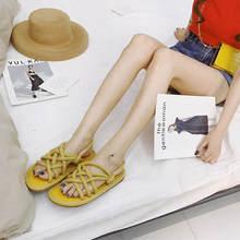 Women Sandals New 2019 Rome Hemp Rope Cross tied Flat Sandals Casuals Gladiator Summer Beach Slingback Sandals Shoes