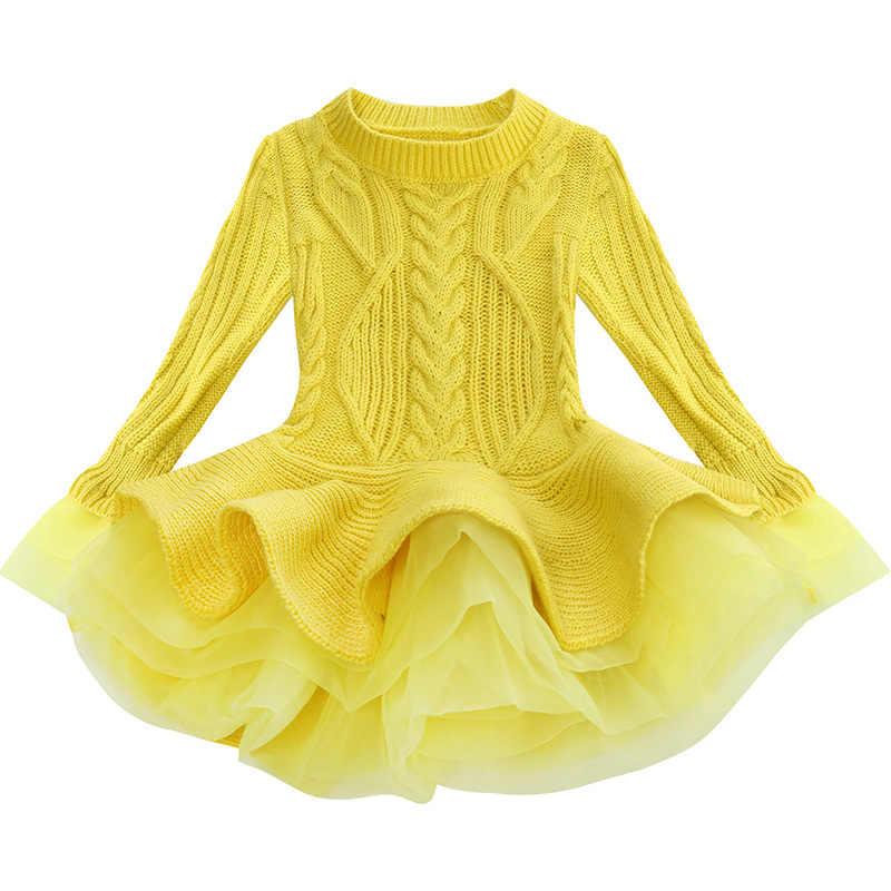 2fe4b698f ... Thick Warm Girl Dress Christmas Wedding Party Mini Dresses Knitted  Chiffon Winter Kids Girls Clothes Children ...