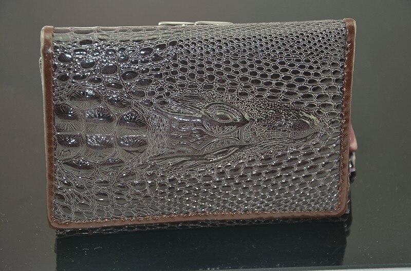 רויאל קצר עור אמיתי נשים נקבה זוהר תנין הארנק 3 מקפלים רוכסן מטבע בכיס Billeteras Mujer ארנק ארנק הנשים