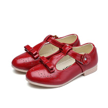 New Chirldren Kids Shoes Spring Autumn Flowers Princess Wedding Party for Girl Leather Red pink White 4 5-13T