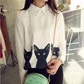 Мода высокое качество 2016 новый бренд блузки топы с длинным рукавом свободного покроя женская широкий Blusas три кошки шифон блузка весна рубашки