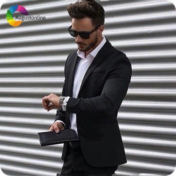 Black Slim Fit Business Men Suits Wedding Tuxedos Terno Groom Wear 2 Pieces (Jacket+Pants) Groomsmen Suits Costume Homme
