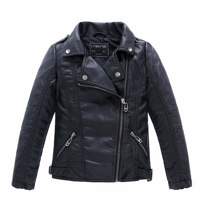 Brand Fashion Children Outerwear Coat Vattentäta Baby Boys and Girls Leather Jackor För Åldrar 1-14 år gammal