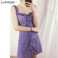 Purple Ruffles Sling Sexy Girls Dress 2018 New Summer Popular Fashion women print Casual Elegant Club Beach Party Mini Dress