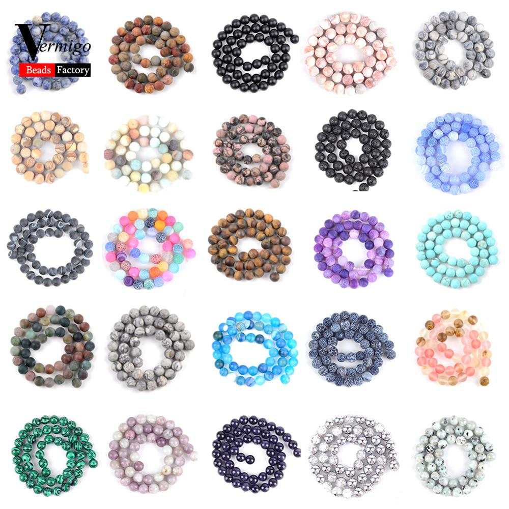 Wholesale Natural Stone Beads Round Mix Dull Polish Agates Jaspers Spacer Loose Beads For Jewelry Making 4-10mm Diy Bracelet 15