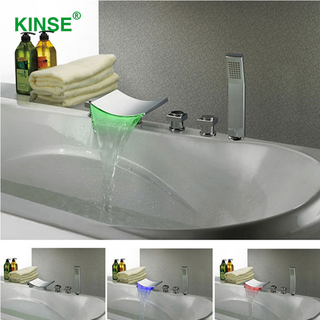 KINSE High Quality Contemporary Bathtub Faucet Brass Material LED ...