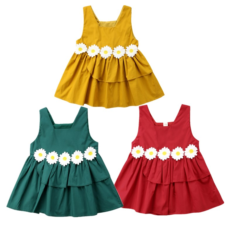 Cute Kids Baby Girl Pageant Flower Sleeveless Tutu Dress Toddler Girls Summer Vestidos Sunsuit Birthday Wedding Princess Dresses