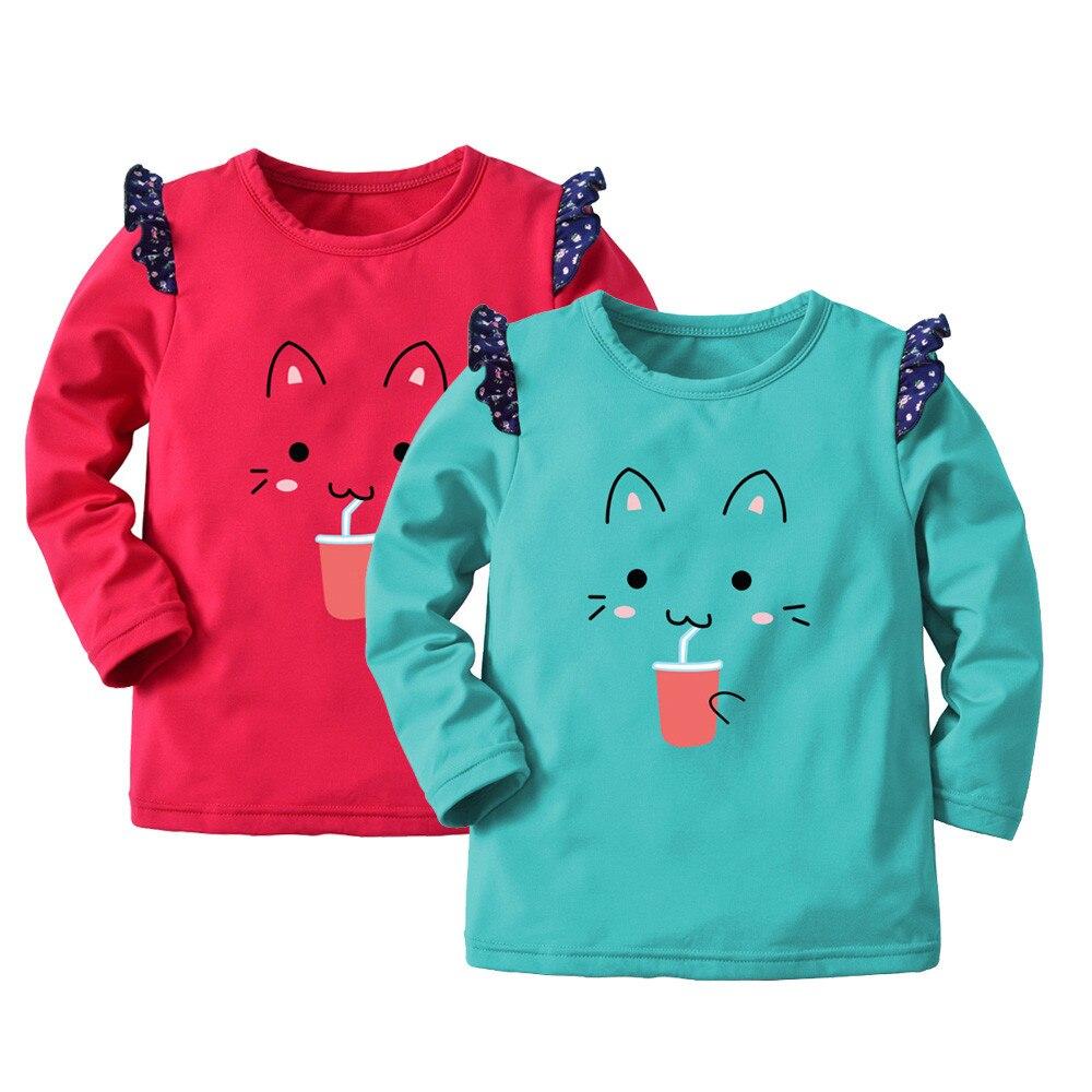 2018 Hohe Qualität Kinder Kinder Junge Cartoon Katze Drucken Warme Tops Sweatshirt Pullover Kleidung Baby Kinder Kleidung