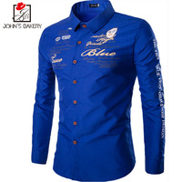 John S Bakery 2017 Spring Autumn Features Shirts Men Casual Shirt New Letter Printing Long Sleeve