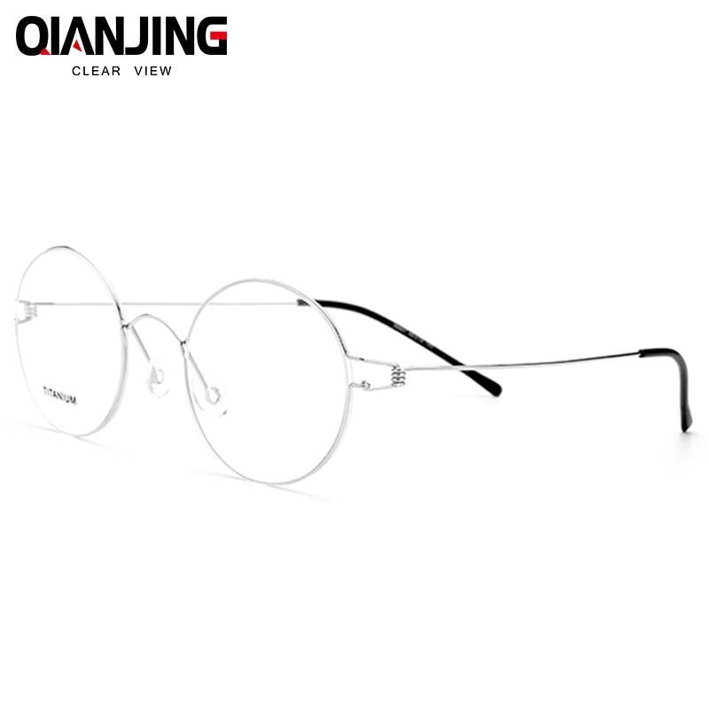 2018 QJ Retro glasses frame men Pure Hand-made eyeglasses frames men brand spectacles for myopia screwless eyewear women glasses