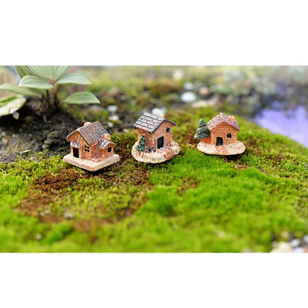 3 Piece Mini DIY Decoration Resin House Garden Flower Pot Micro Landscape For Decorated The Flowerpot