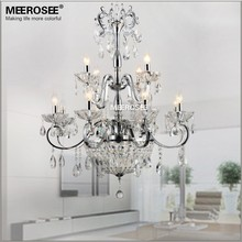 Vintage Crystal Chandelier Lighting Fixture Wrought Iron Living Room Restaurant Lustre Lamp Home Decoration Candelabro