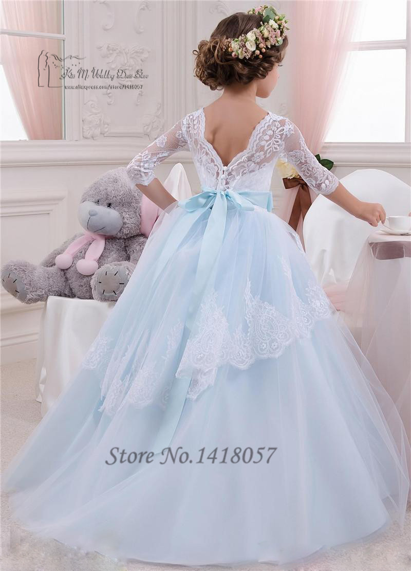 Lace Holy Communion Dresses 2016 Pageant Ball Gowns For Girls Wedding Kids White Sky Blue Flower Girl Designs In From