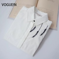 VOGUE N New Womens Ladies Spring Leaf Embroidery Long Sleeve Button Down Shirt Casual Blouse Tops