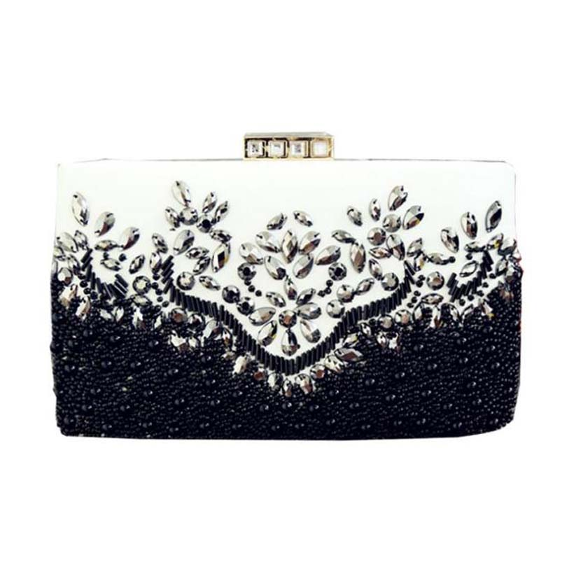 Ladies Clutches Flower Party-Bags Evening-Bag Rhinestone Female Women Pu Beaded