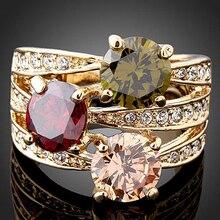 Горячая мода женские роскошные кубического циркония кристалл золотого цвета кольцо украшения для коктейля, вечеринки NY79 7G3P BD1U