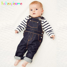 2Piece/Spring Autumn Baby Wear Infant Boys Clothing Sets Stripe T-shirt+Denim Overalls 1st Birthday Newborn Clothes Suits BC1374