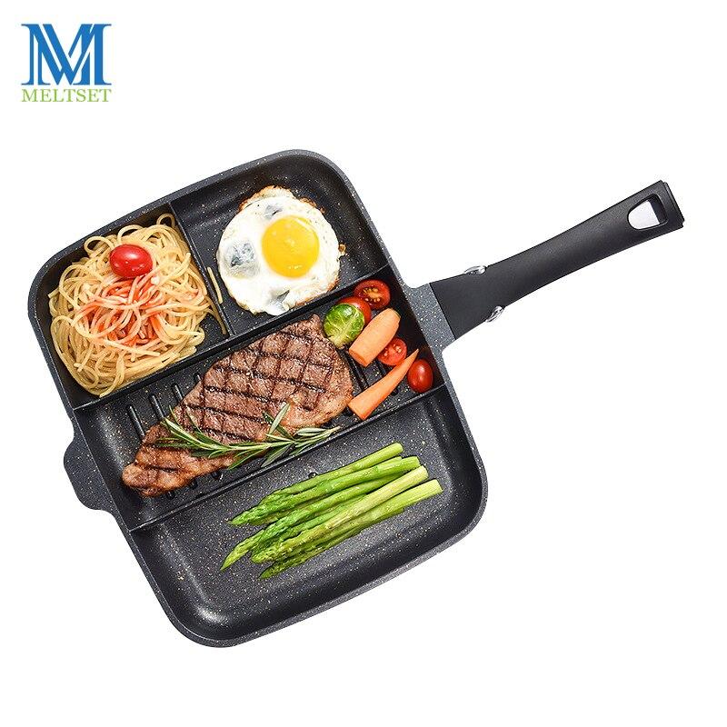 Meltset 4 en 1 poêle antiadhésive pierre médicale casseroles pour crêpe oeuf Pot Grill viande Pan Steak Grill casserole gaz cuisinière
