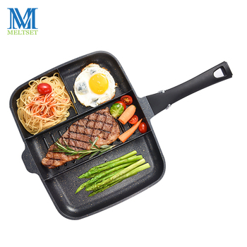 Meltset 4 in 1 Nonstick Frying Pan Medical Stone Cookware Pans For Pancake Egg Pot Grill Meat Pan Steak Grill Pan Gas Cooker