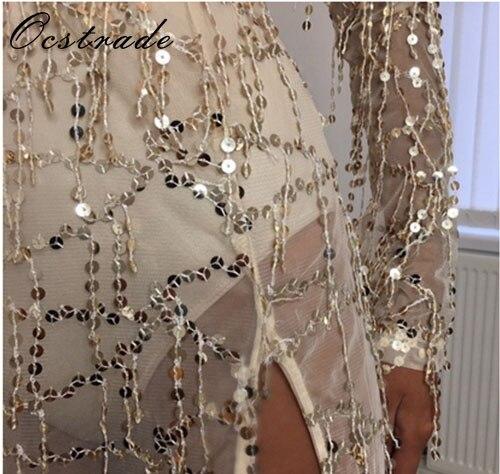 736172da Aliexpress.com : Buy Ocstrade Gold Party Sequins Mesh Dresses 2017 Long  Sleeve Deep V Neck Fringe Flapper Dress Long Split Mesh Dress Wholesale HL  from ...