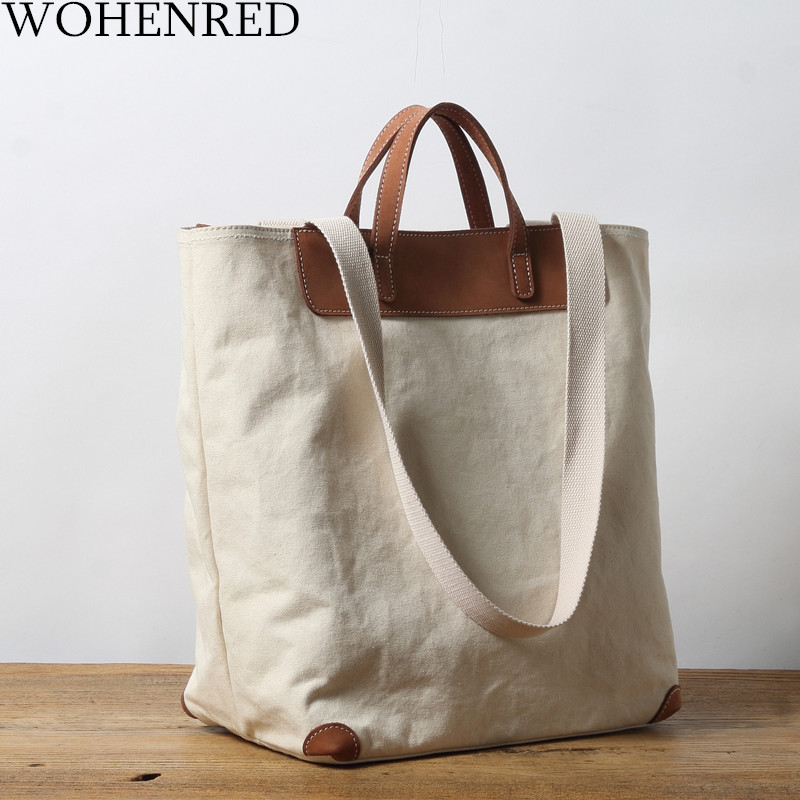 WOHENRED Canvas Handbags Women Large Capacity Shopping Bags 2019 Casual Tote High Quality Shoulder Bags For Ladies Crossbody Bag