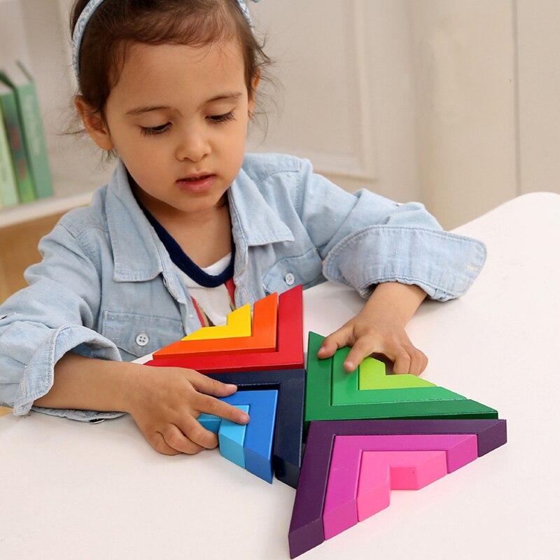 Jeux de Puzzle en bois à Angle droit jouets éducatifs enfants Puzzles colorés jouets en bois pour garçons filles