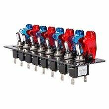 DC12V 20A гоночный автомобиль переключатель тумблер панель для гоночного автомобиля углеродное волокно 8 переключателей красный и синий гоночный автомобиль переключатель панель