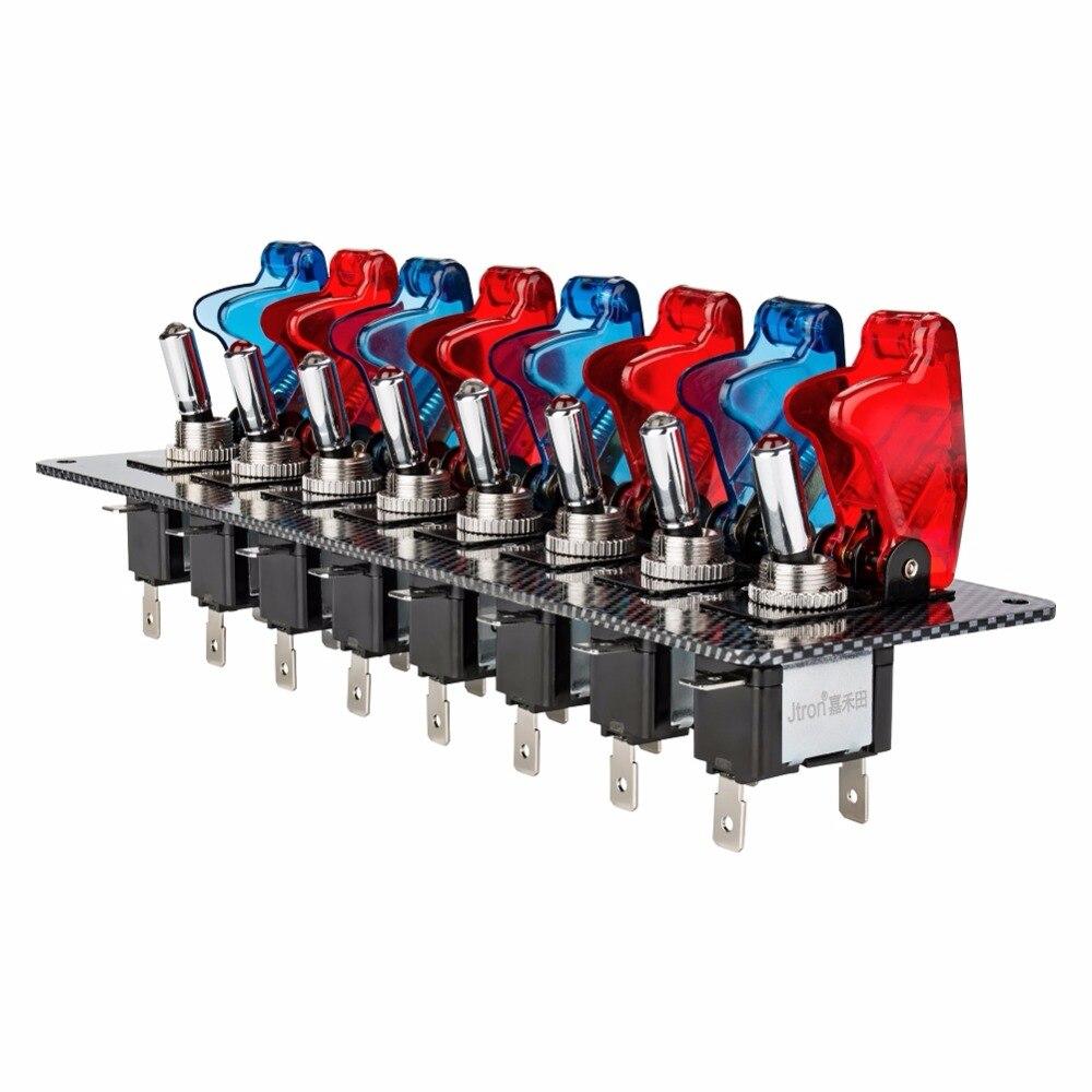 DC12V 20A racing car interruptor switch Panel para Racing Car fibra de carbono 8 interruptores rojo y azul coche de carreras interruptor del Panel