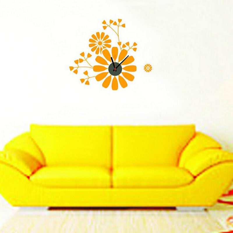 2015 Home Decoration Diy New Simple Creative Flower Clock Vinyl Wall Decal Removable Planner wallpaper vinyl Wall Stickers