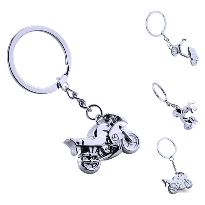 3D Mini Motorcycle Cool Silver Metal Charm Car Key Ring Keychain Creative Party Gift Bag ornaments