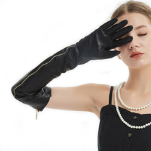 цена на 60cm(23.6)long side real open full zipper style real leather long opera gloves black