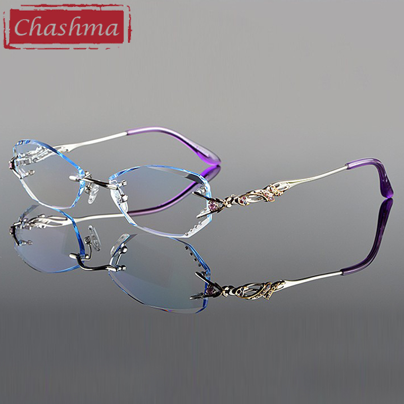 Chashma Luxury Tint Objektiv Myopi Glasögon Läsglasögon Diamond Cutting Rimless Prescription Glasses för kvinnor