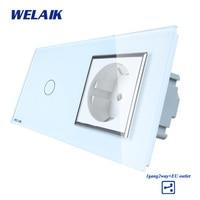 WELAIK Brand 2Frame Crystal Glass Panel Wall Switch EU Touch Switch Screen EU Wall Socket 1gang2way