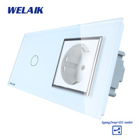 WELAIK Brand 2Frame Crystal Glass Panel Wall Switch EU Touch Switch Screen EU Wall Socket 1gang2way