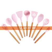 9 or 10pcs Pink Cooking Tools Set Premium Silicone Kitchen Cooking Utensils Set with Holder Turner Tongs Spatula Spoon Turner
