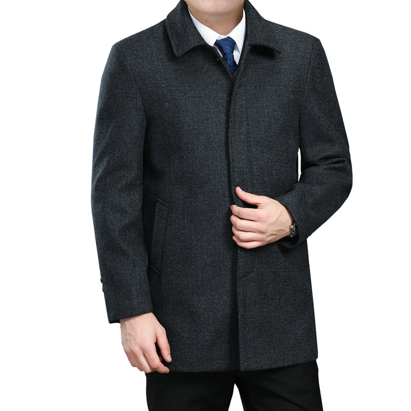 WAEOLSA Mature Men Elegant Jackets Woollen Blends Basic Coat Dark Gray Aged Man Wool Outerwear Winter Autumn Outfits 3XL