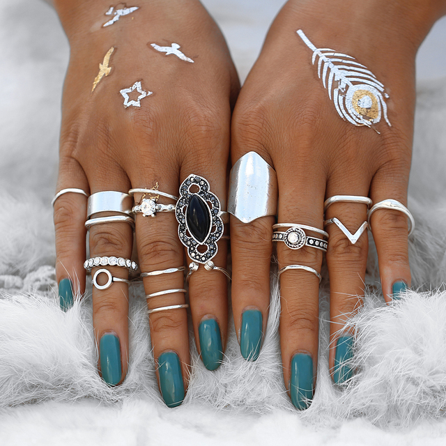 IF YOU Vintage Finger Knuckle Rings Set For Women Antique Boho Geometric Round S