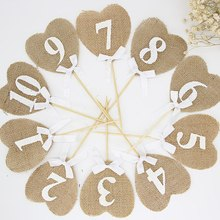 10pcs Burlap Heart shaped Number Flags Digital Fruit Plate Toppers Wedding 1-10 Table Decor Wedding Decoration Party Supplies