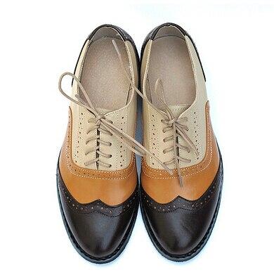 a1973e50e5f Nuevo Estilo 19 Zapatos Hombre Zapatos oxford Para Mujeres de Encaje arriba  el Bloque de Color