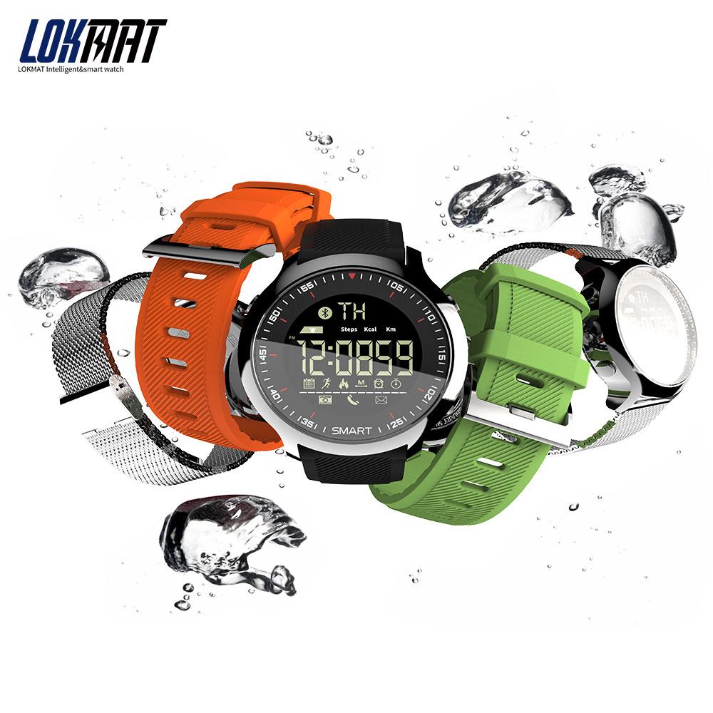 LOKMAT deporte de los hombres de SmartWatch Bluetooth impermeable IP68 llamada de soporte y SMS recordatorio reloj inteligente para android y iphone