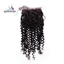 Sunnymay необработанные бразильский девственные волосы глубоко вьющиеся Накладные волосы натуральных волос отбеленные узлы 5×5 Синтетические волосы на кружеве с ребенком волос