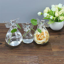 Fashion Design Angel Modelling Transparent Hanging Glass Hydroponic Flowers Vase DIY Plant Terrarium Container Pots(China)