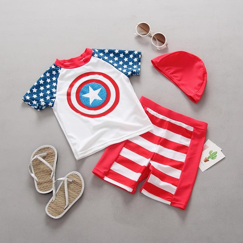 Bambino Costumi Da Bagno 3 pezzi Costumi Da Bagno per Bambini Ragazzi USA Capitano Protezione Solare Vestito di Surf Bambino Protezioni Costumi da bagno