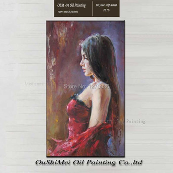 Handmade Sexy Girl Flamenco Dancer Woman Oil Painting on Canvas Realistically FigurePortrait Wall Art for Living Room Decoration